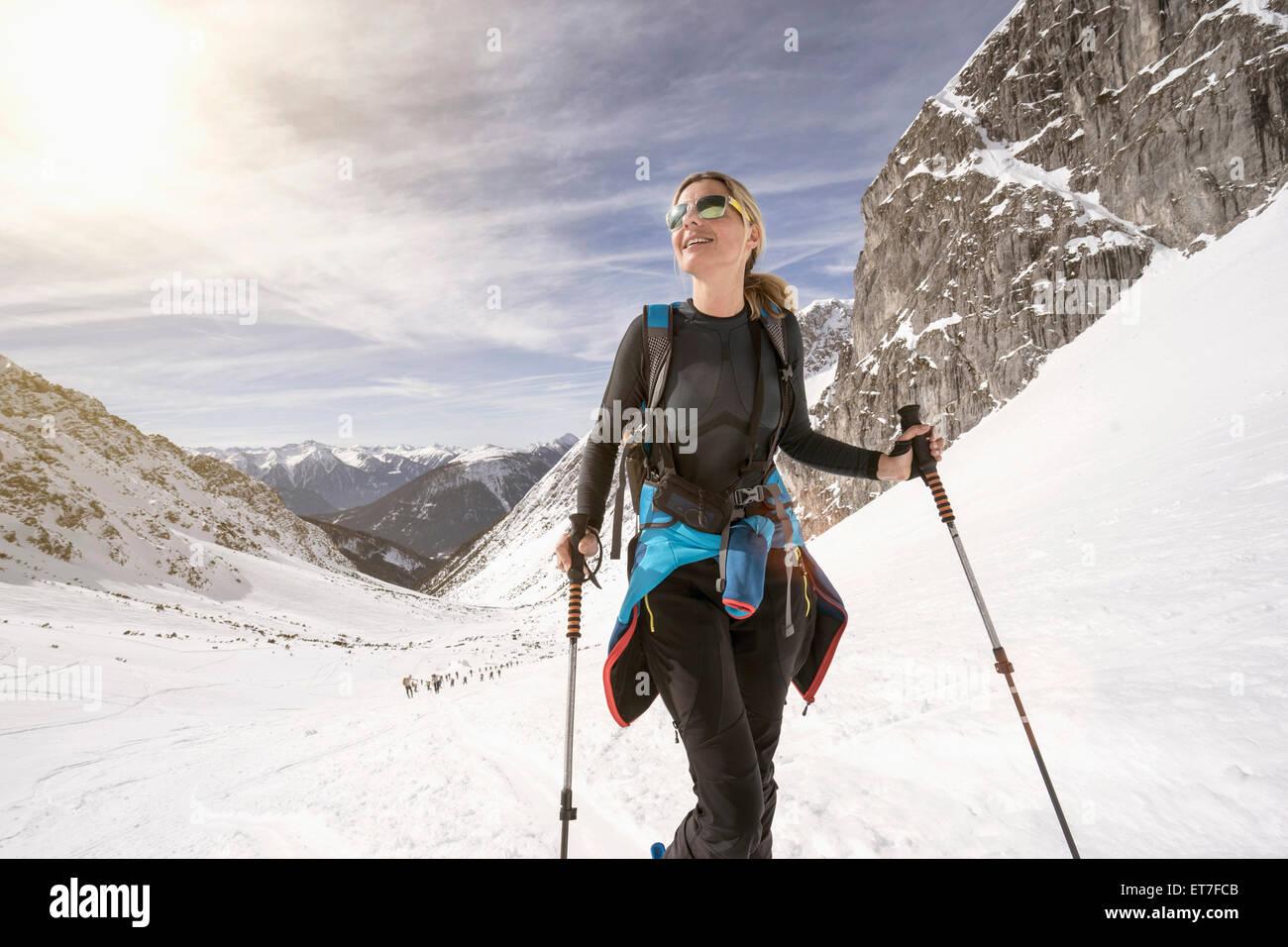 Young woman skiing, Bavaria, Germany - Stock Image