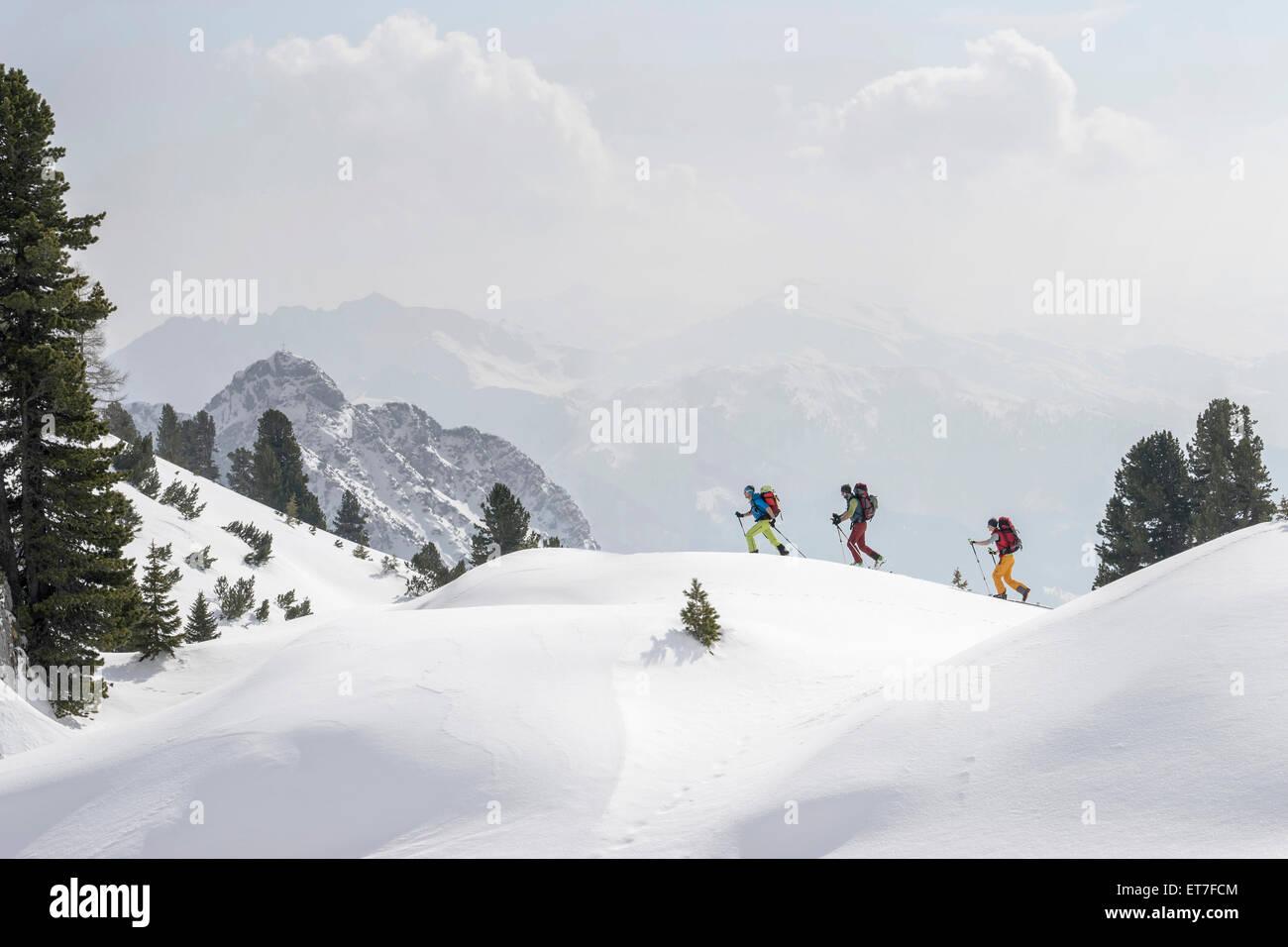 Ski mountaineers climbing on snowy peak, Tyrol, Austria - Stock Image