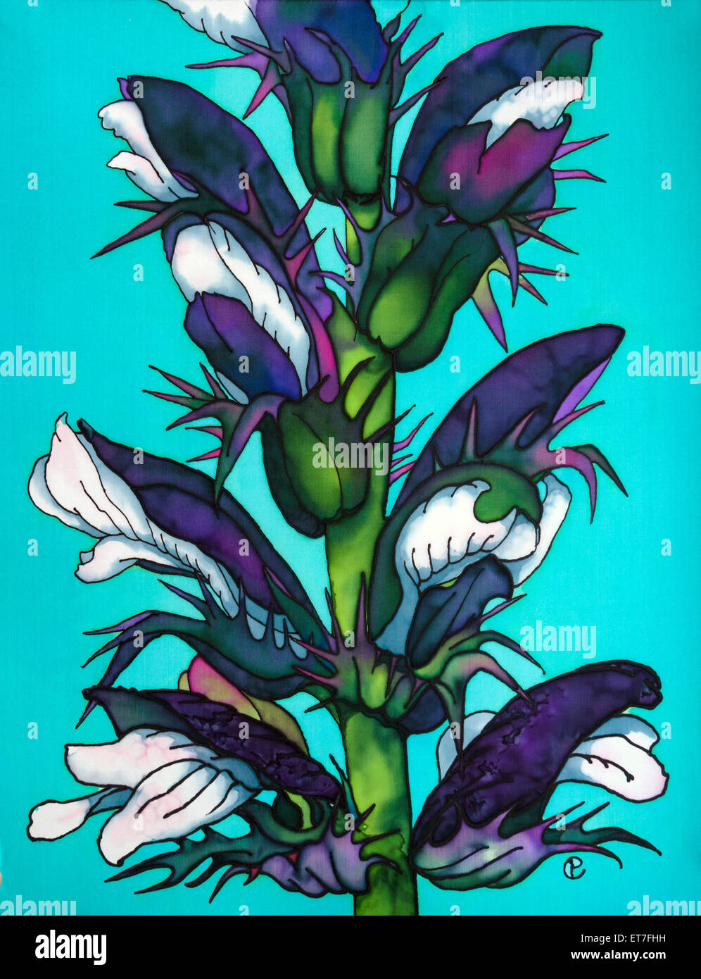 Photograph of silk painting of acanthus flowers on plain background photograph of silk painting of acanthus flowers on plain background using steam fixed dyes by paula chapman mightylinksfo