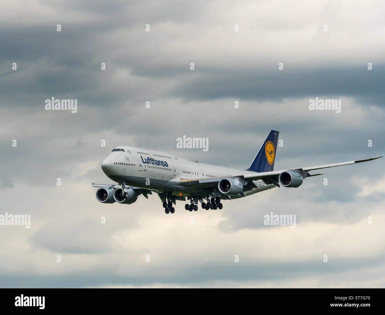 Germany, Frankfurt, landing Boeing 747 of Lufthansa - Stock Image