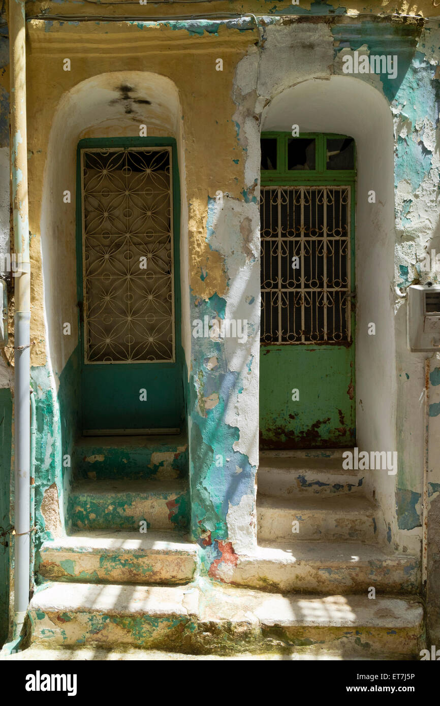 Houses on the decline in the village of Pyrgi, Greece in the village of Pyrgi, on the isle of Chios, Greece - Stock Image