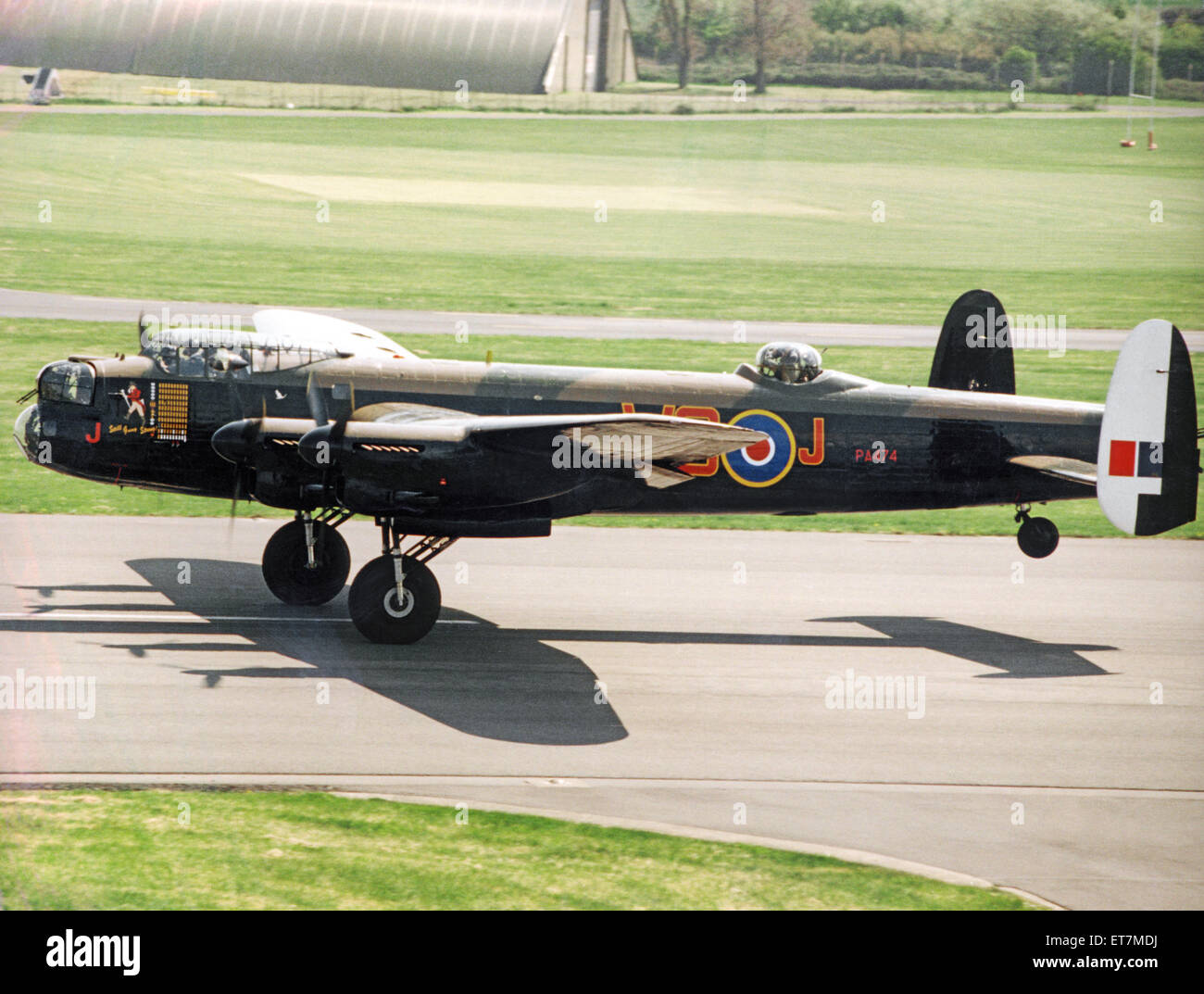 A Second World War Avro Lancaster bomber pictured leaving RAF St Athan after a refit. 15th May 1996. - Stock Image