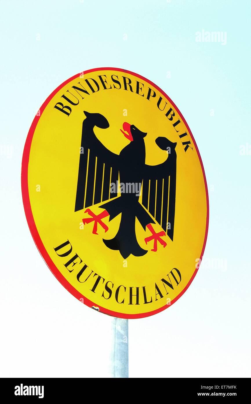 Schild Bundesrepublik Deutschland, Deutschland, Bayern | sign Federal Republic of Germany, Germany, Bavaria - Stock Image