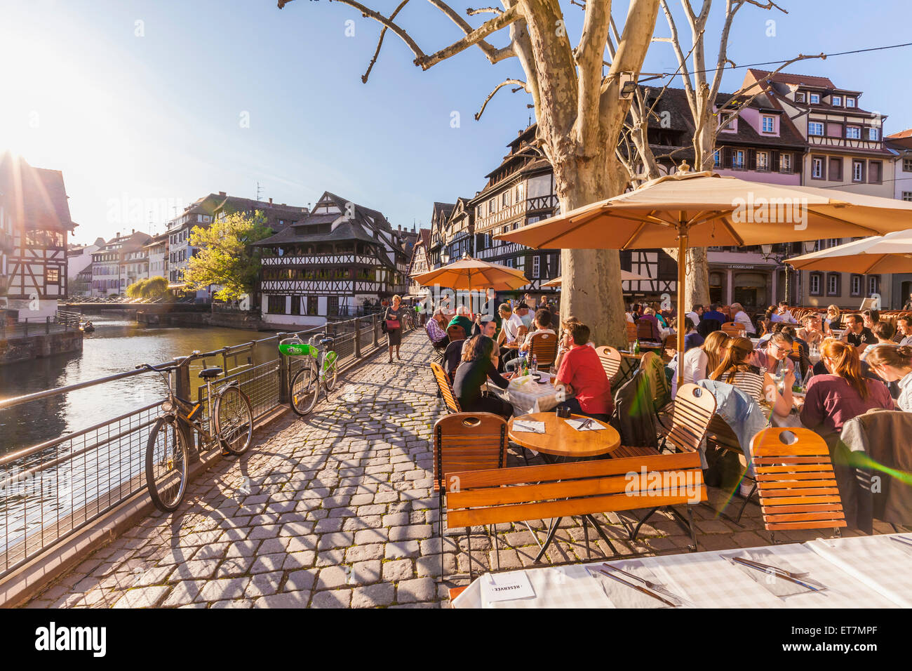 France, Strassbourg, Half-timbered houses at Ill river - Stock Image