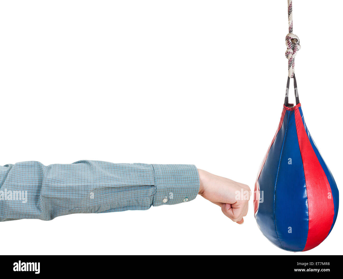 Hand Gesture   Office Worker Punches Punching Bag Isolated On White  Background