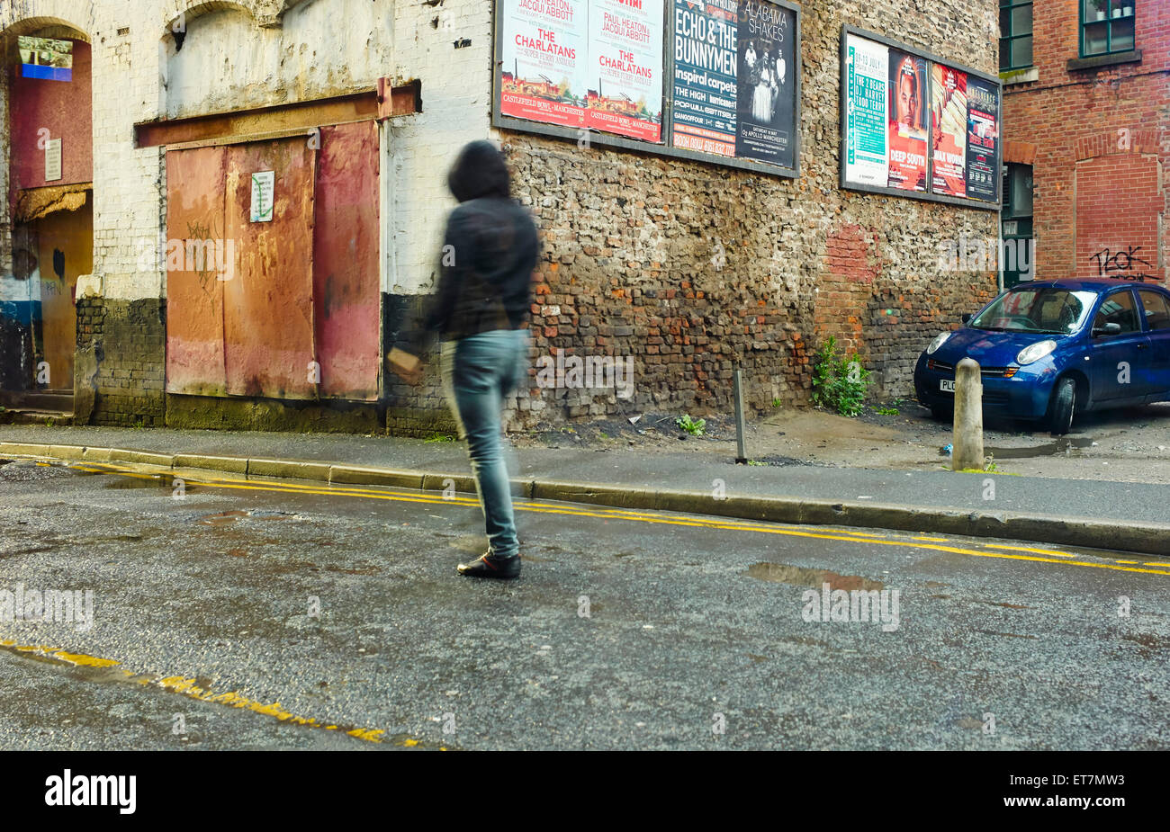 Northern quarter, Manchester person in street scene - Stock Image