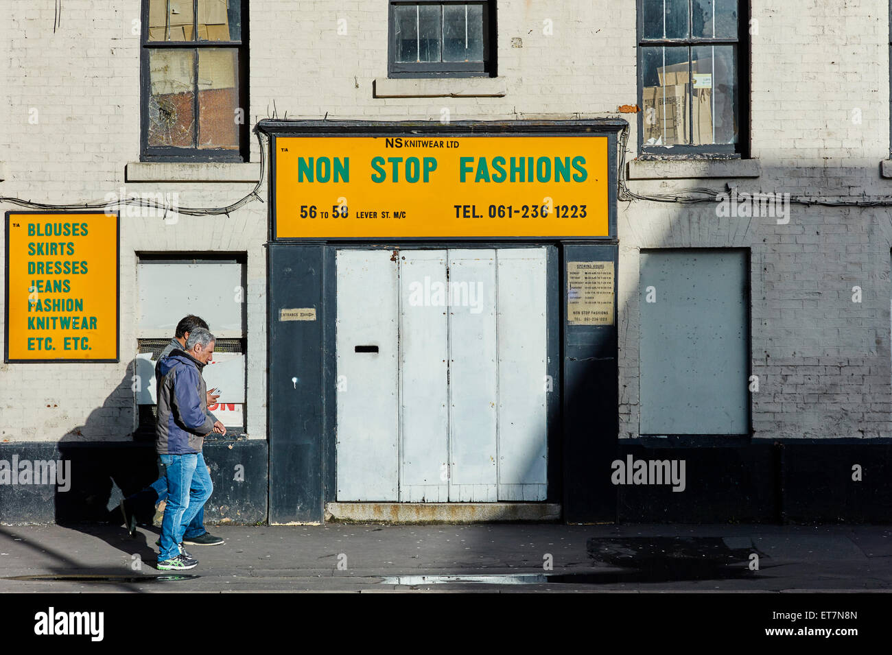 Non stop fashions, Lever Street, Manchester Northern quarter - Stock Image