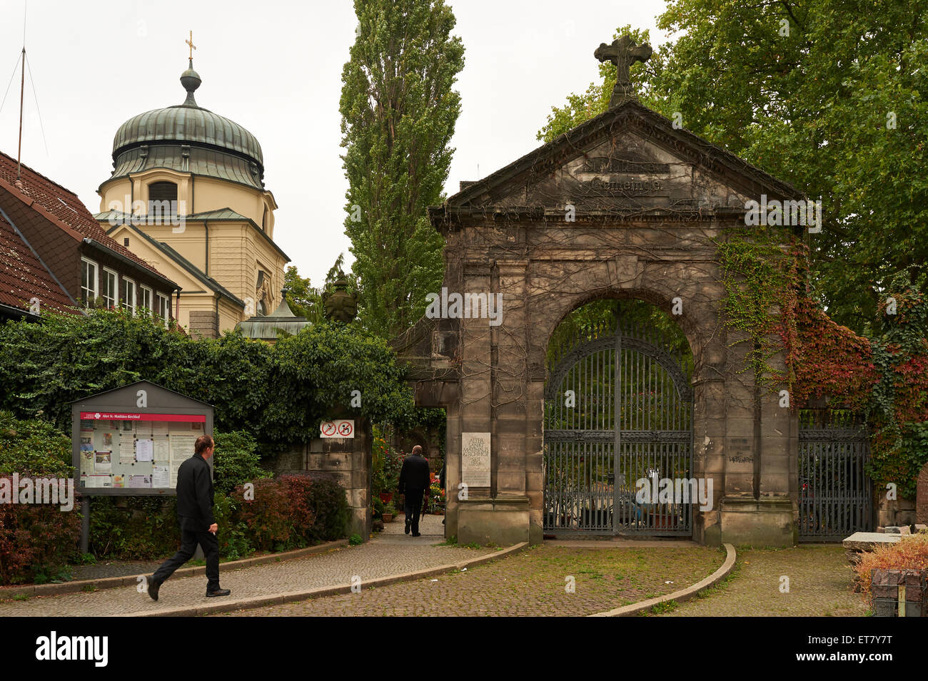 Berlin, Germany, the entrance to Old St. Matthaus Kirchhof Berlin Stock Photo