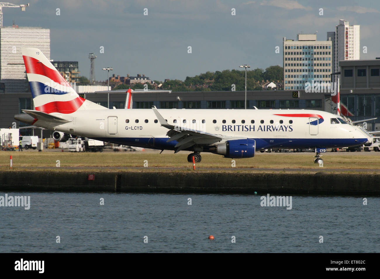 london city airport docklands british airways embraer 170 175 - Stock Image