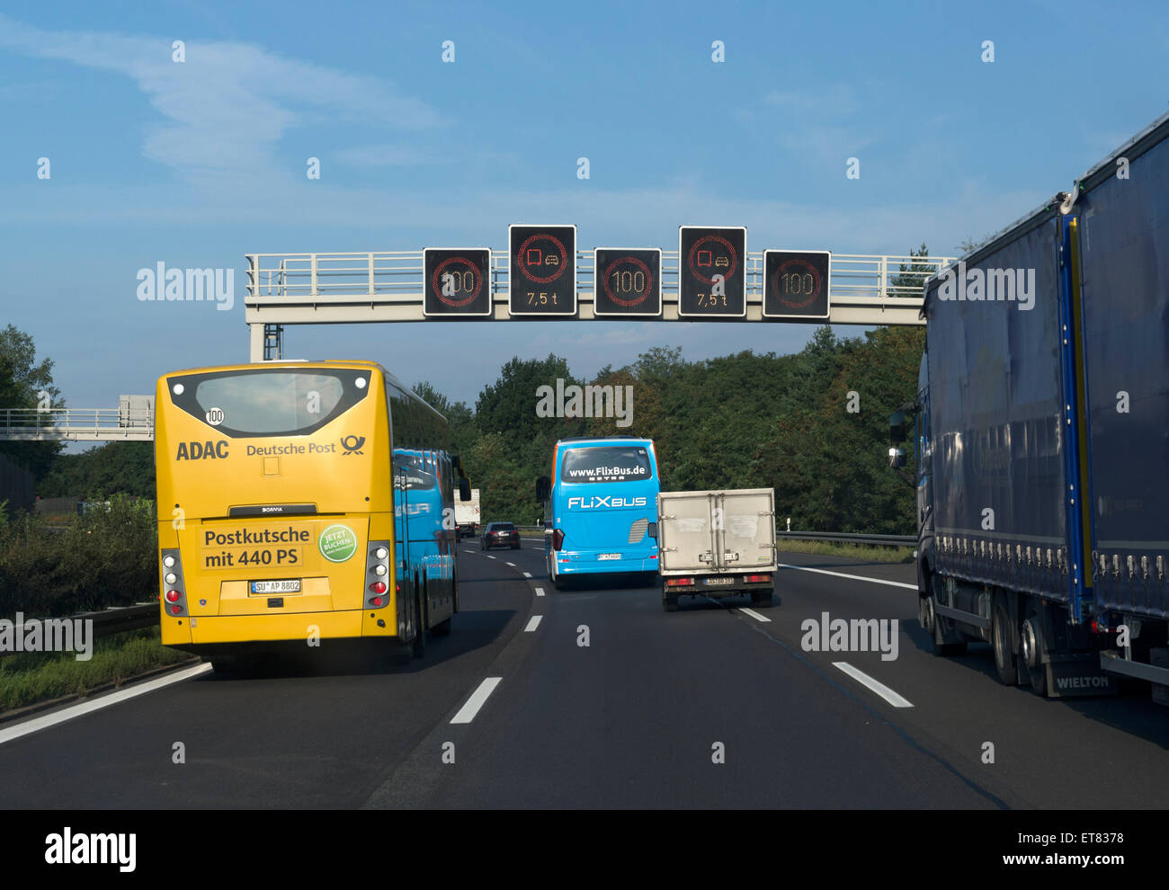 Michendorf, Germany, a remote bus in the fast lane at the motorway junction Nuthetal Stock Photo