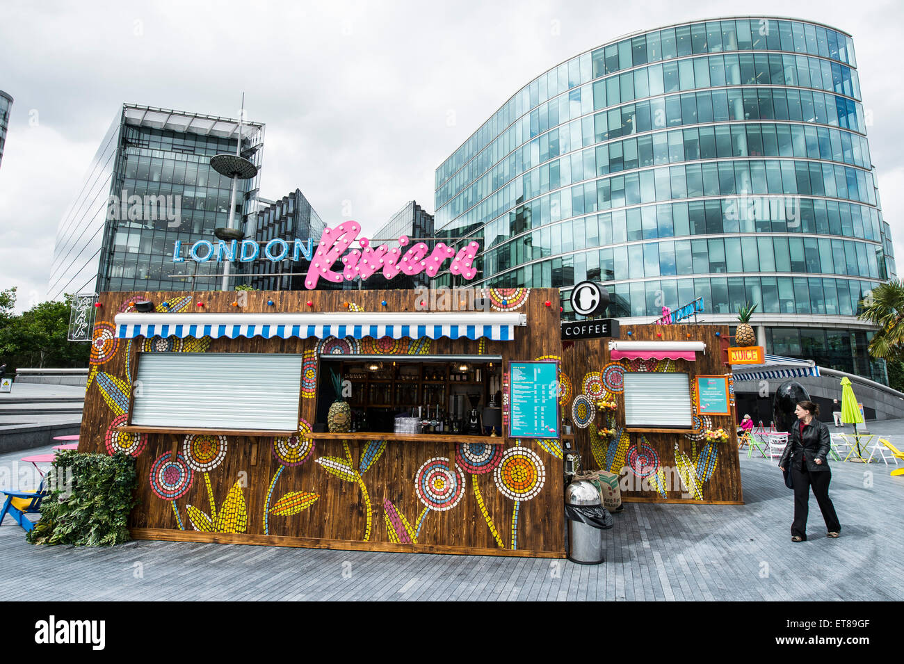 london riviera pop up cafe next to city hall in london with brightly stock photo 83776351 alamy. Black Bedroom Furniture Sets. Home Design Ideas