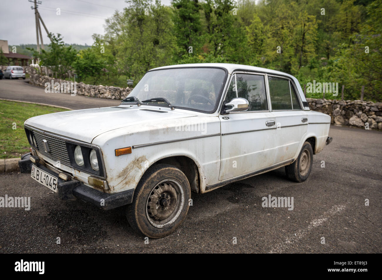 VAZ 2106 (Lada 1600) car near Tskaltubo Cave also called Cave of Prometheus  in Georgia