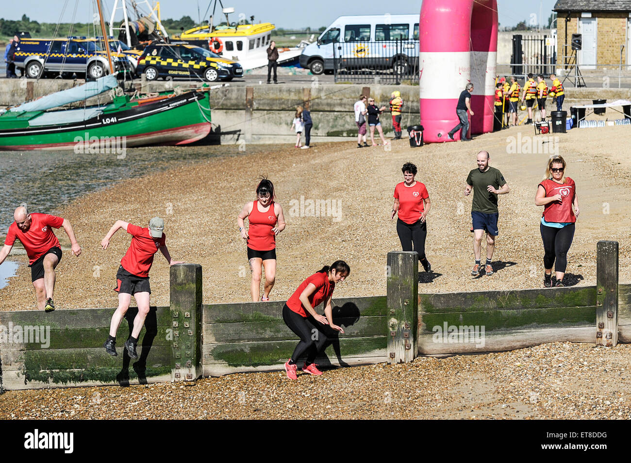 A fitness boot camp on the beach at Leigh on Sea in Essex. - Stock Image