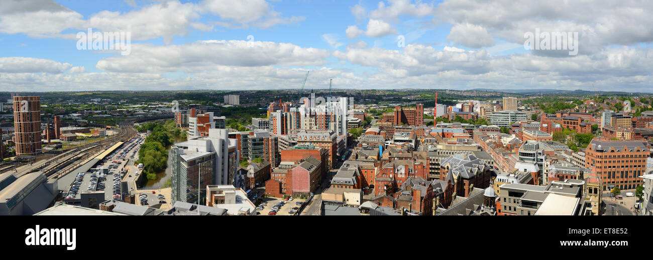 leeds city panoramic skyline showing candle house and railway station, yorkshire united kingdom - Stock Image