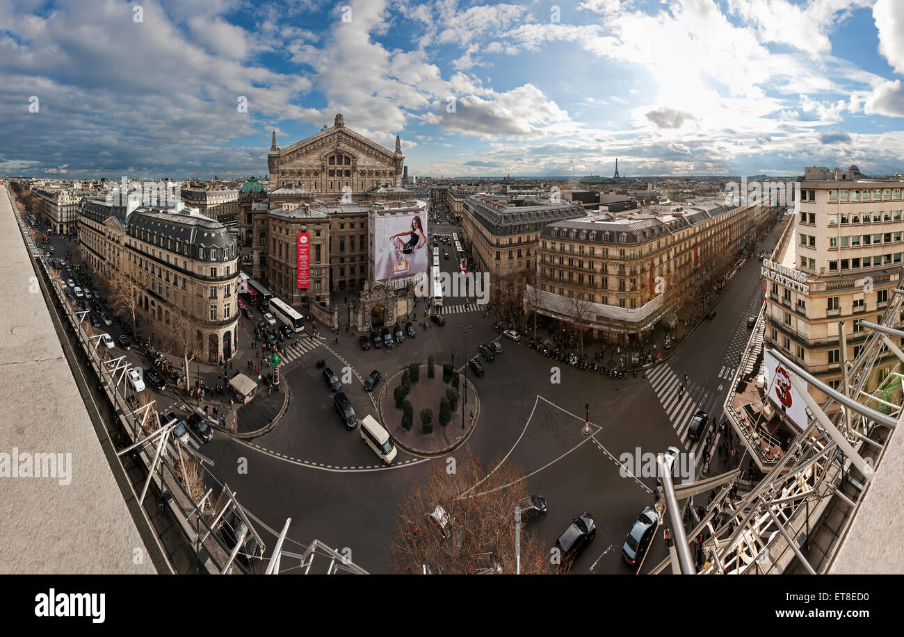 High angle view of Opera Garnier, Paris, France - Stock Image