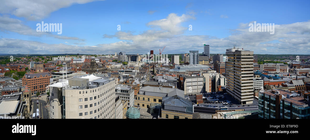 leeds city skyline panoramic showing town hall, university and civic hall,yorkshire united kingdom - Stock Image