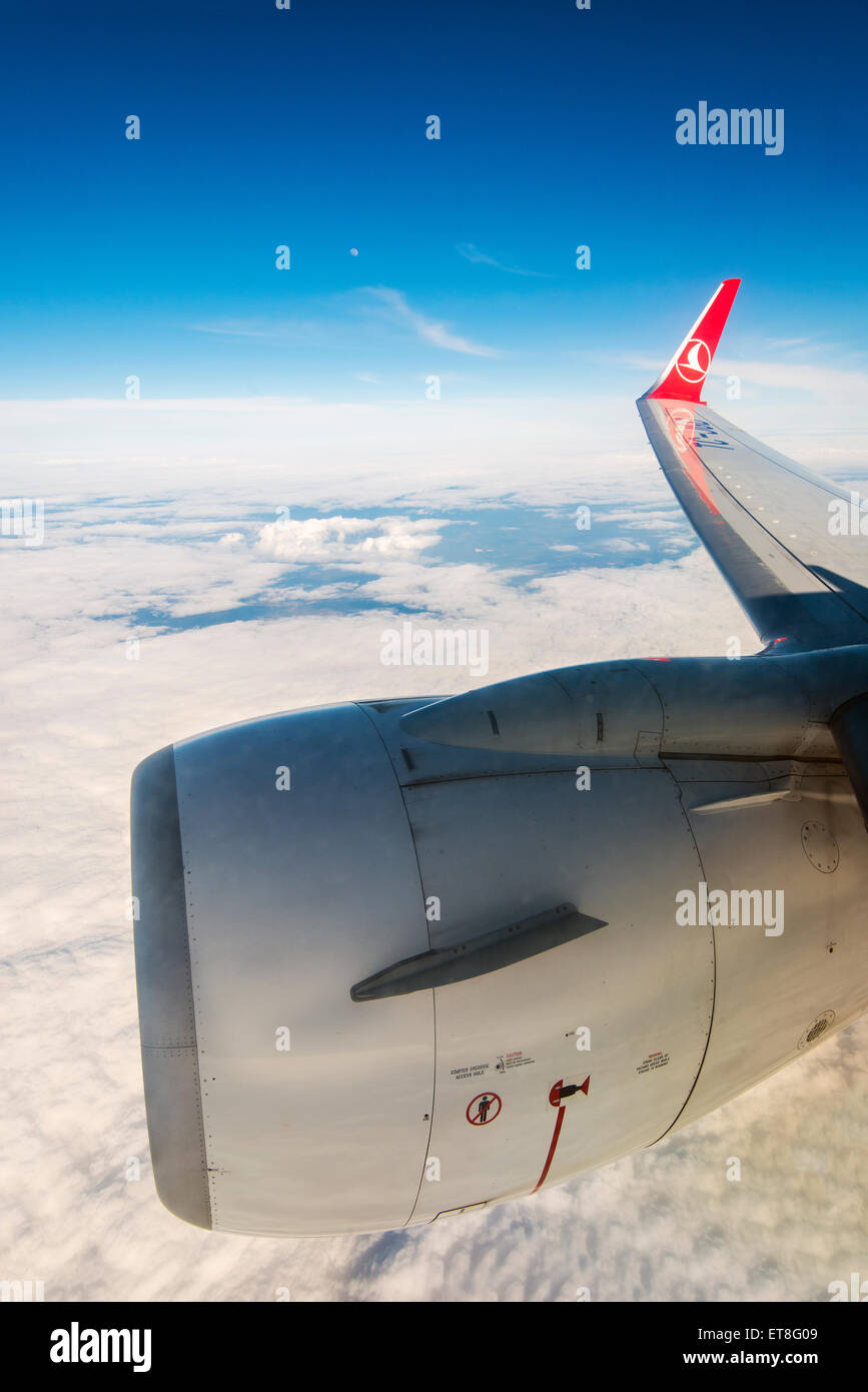 Inflight view of Turkish Airlines Boeing 737-800 bound to Istanbul, Turkey - Stock Image