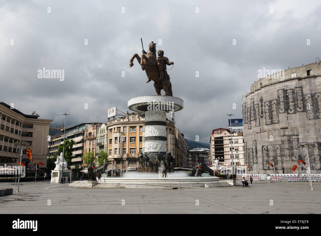 Statue of Alexander the Great Skopje Macedonia - Stock Image