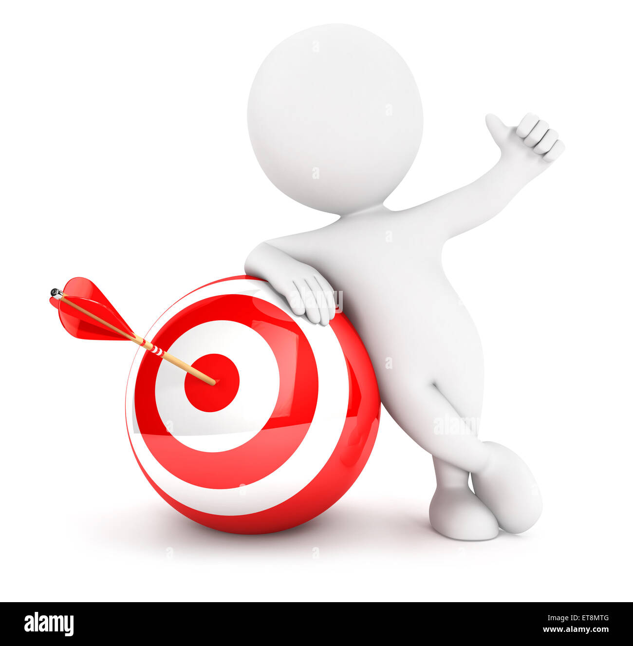 3d white people arrow in sphere target, isolated white background, 3d image Stock Photo