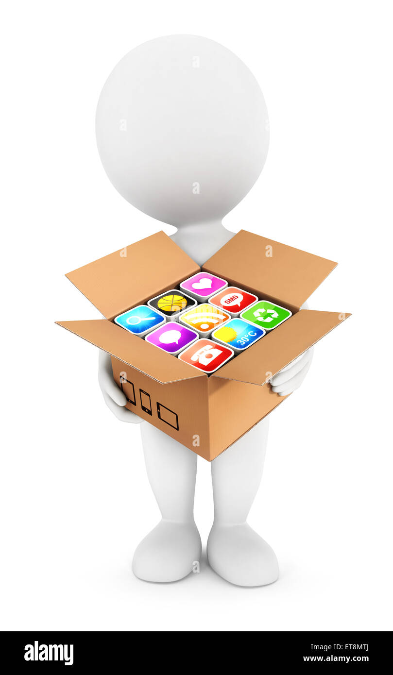 3d white people holding a box with applications, isolated white background, 3d image Stock Photo