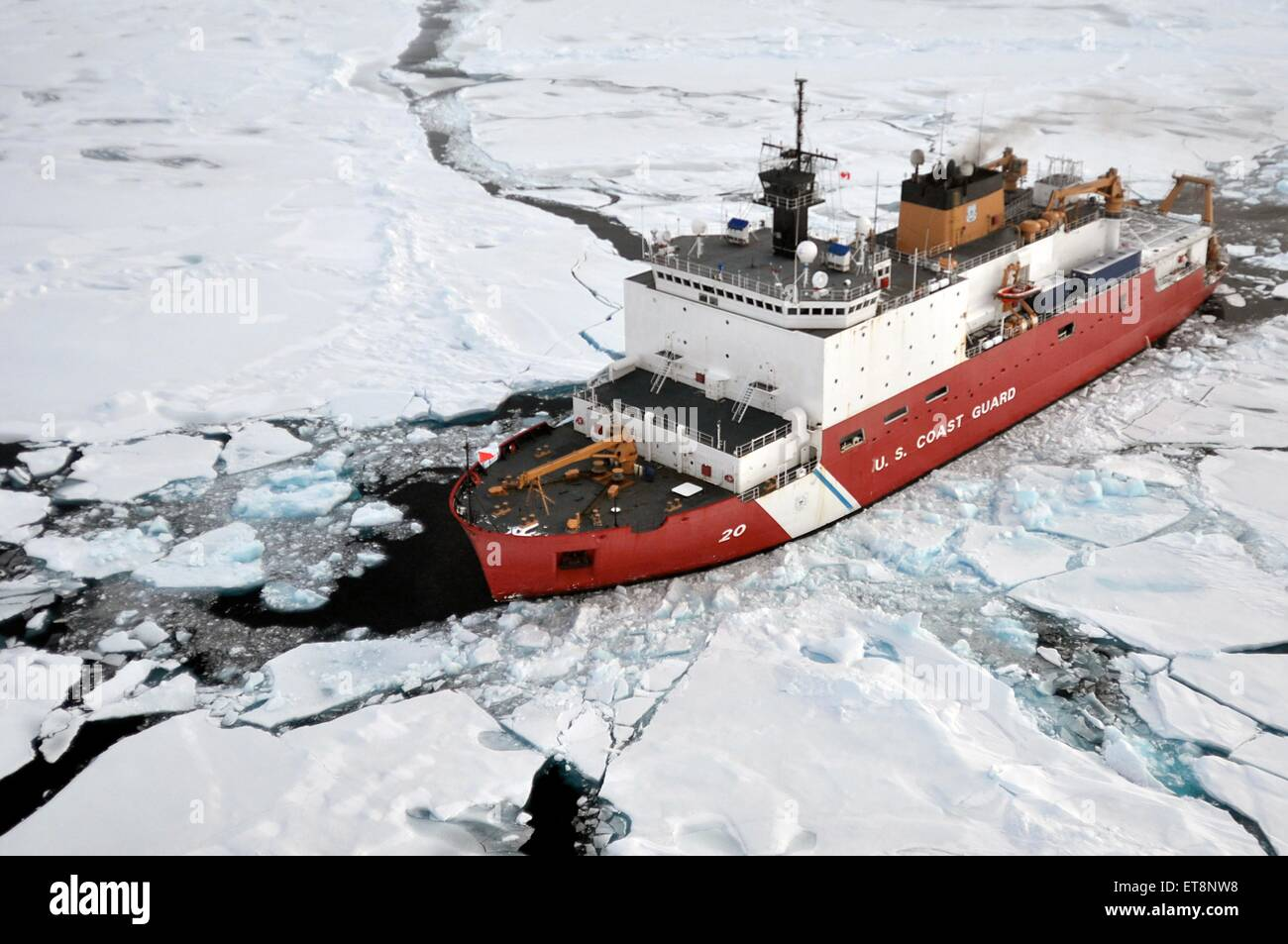US Coast Guard Cutter Healy breaks ice August 31, 2009 in the Arctic. The Healy is the newest and most technologically - Stock Image