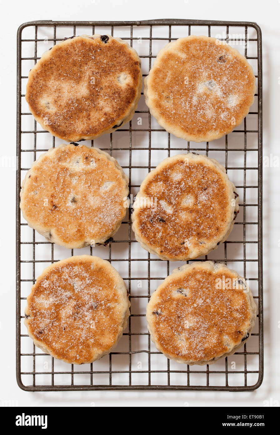 Welsh cakes or Welshcakes (or pics) - a traditional food delicacy in Wales - Stock Image