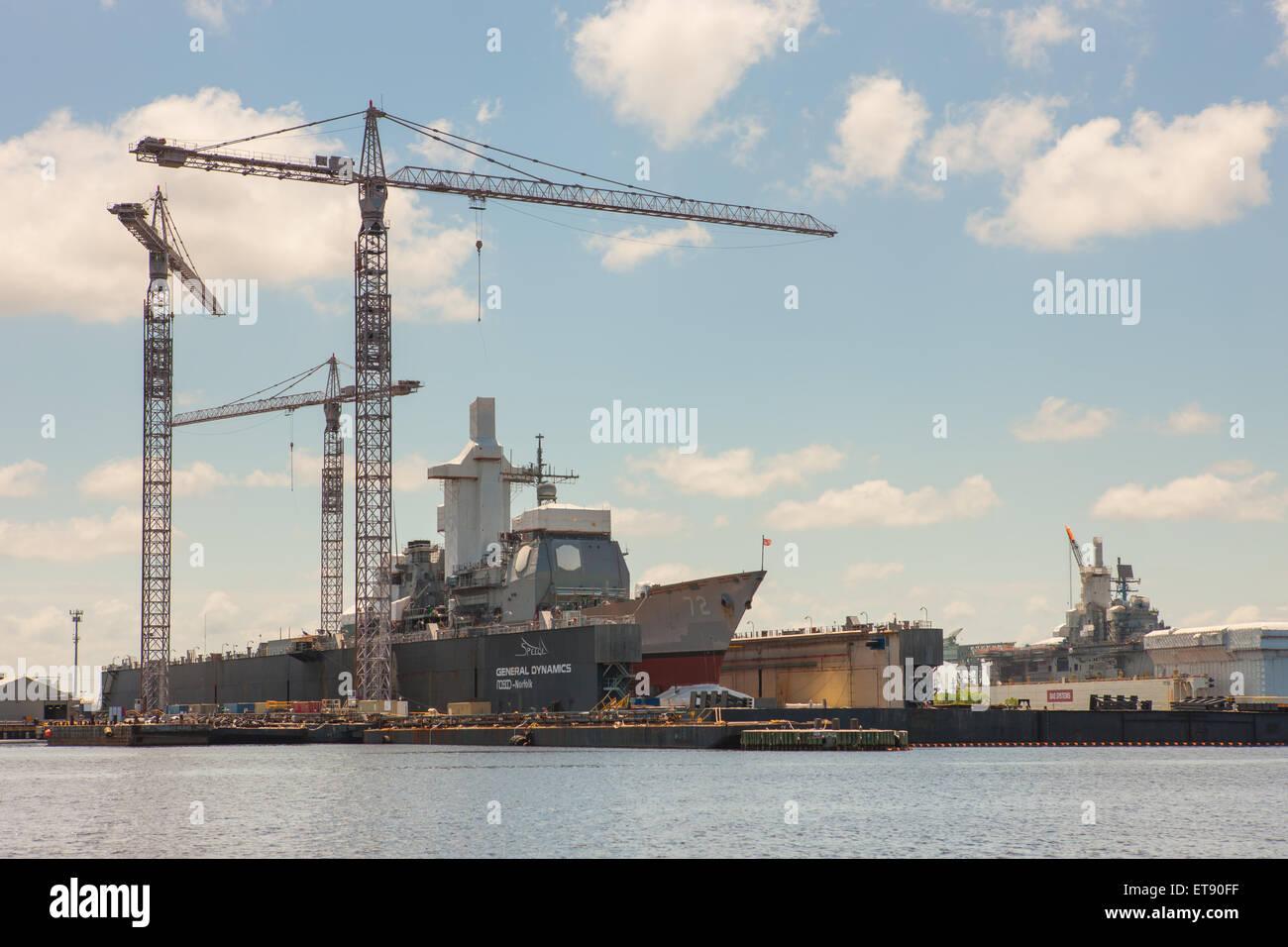 General Dynamics NASSCO shipyard in Norfolk, Virginia. - Stock Image