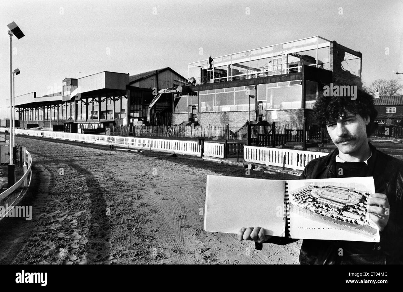 Belle Vue Greyhound stand demolished. The track's Assistant General Manager Colin Delaney with the plans for - Stock Image