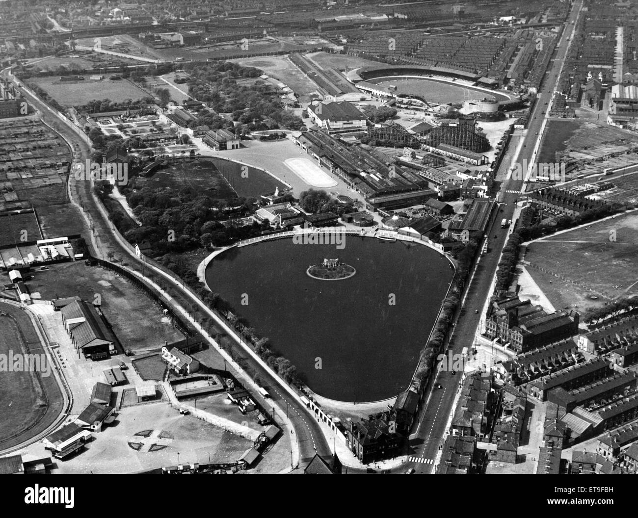 Aerial view of Belle Vue in the Gorton area of  Manchester. August 1957. - Stock Image