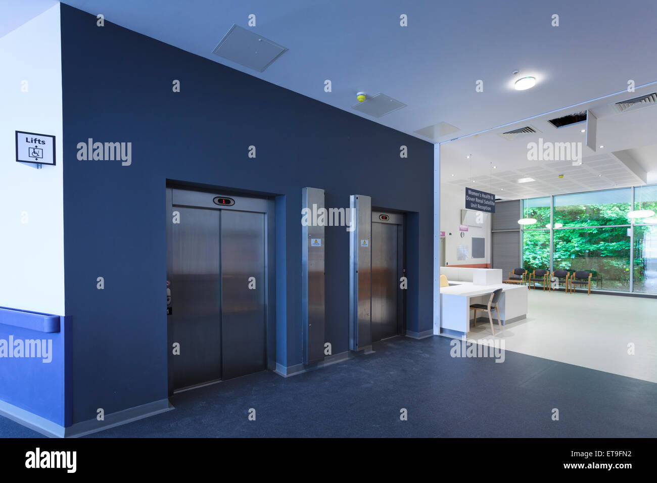 Commercial building two lifts entrance without people Stock Photo