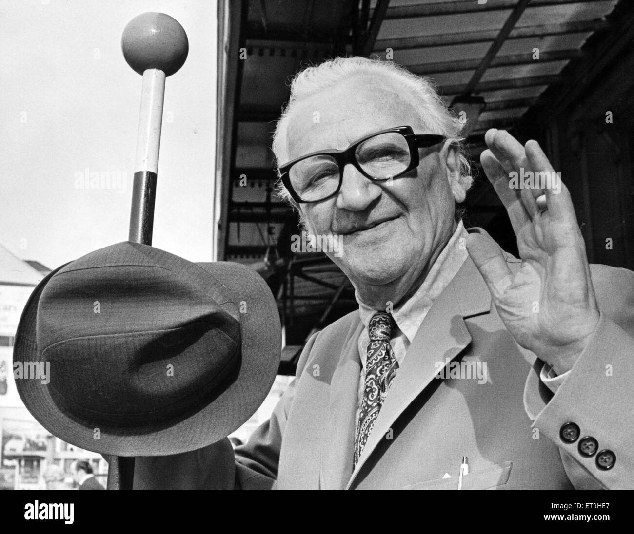 Mr Nicolai Poliakoff OBE arriving in Cardiff for a fortnight's work. He is the creator of Coco the Clown, and - Stock Image