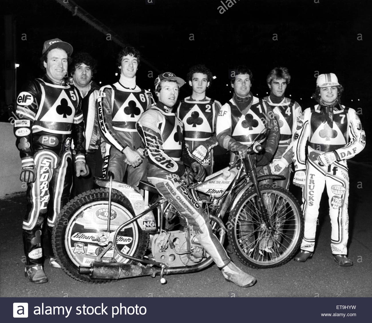 The Belle Vue Aces speedway team for the new season. Circa 1984. - Stock Image