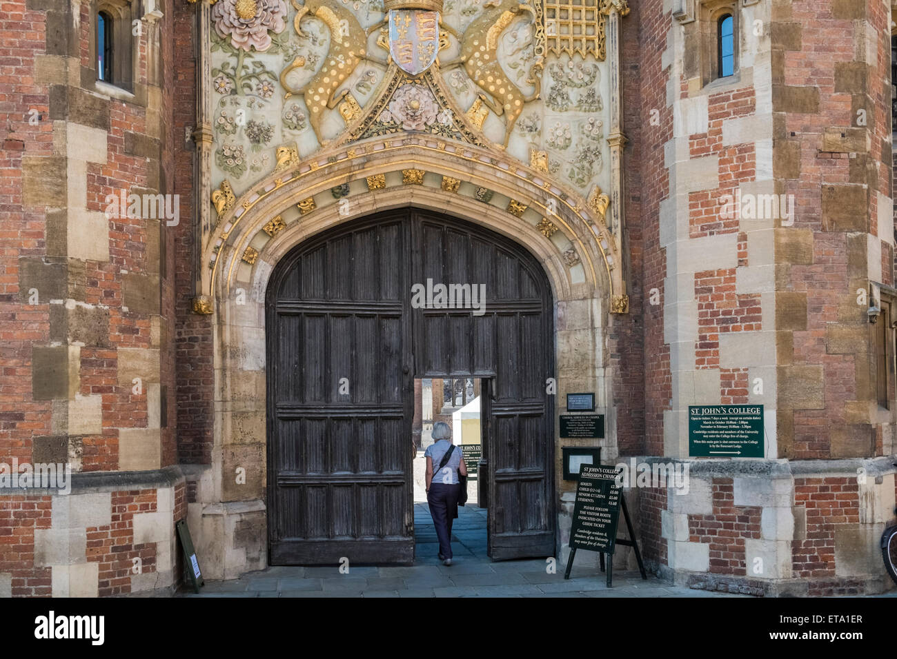 Entrance for St Johns College, Cambridge University, Stock Photo