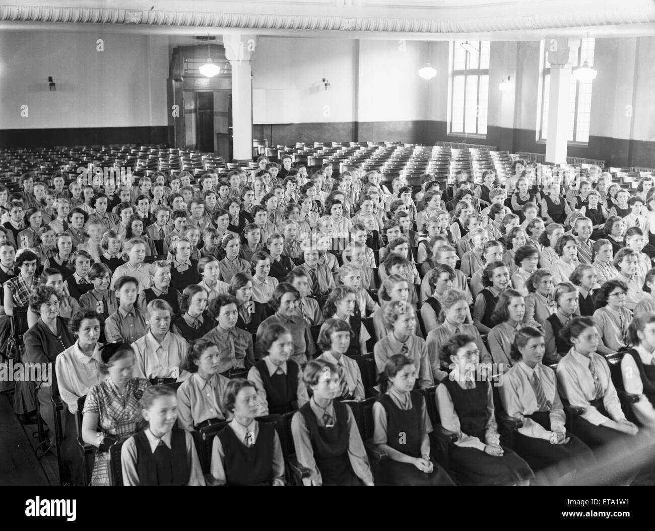 School assembly in Coventry circa 1954 - Stock Image