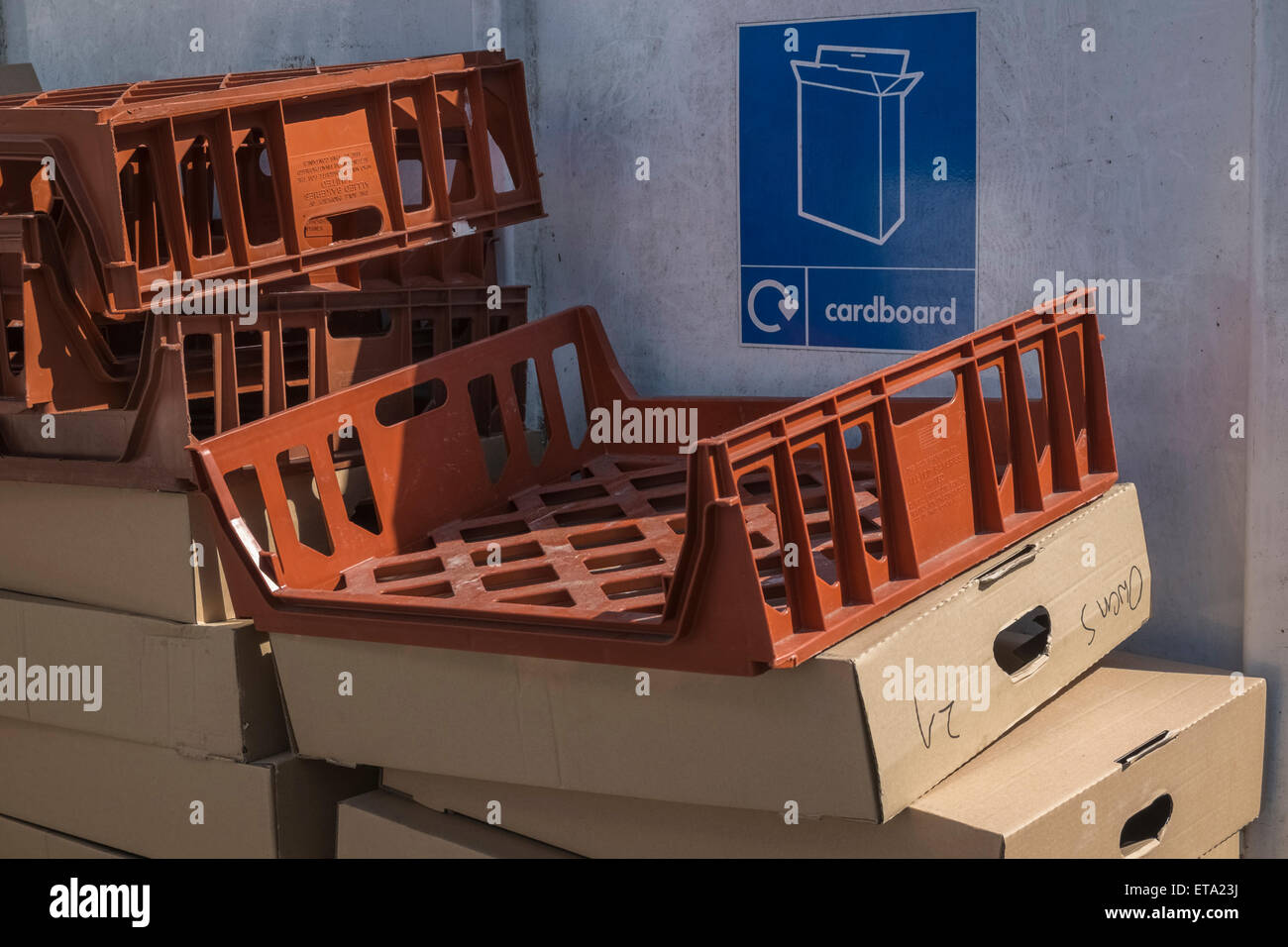 Cardboard storage point for market traders. - Stock Image