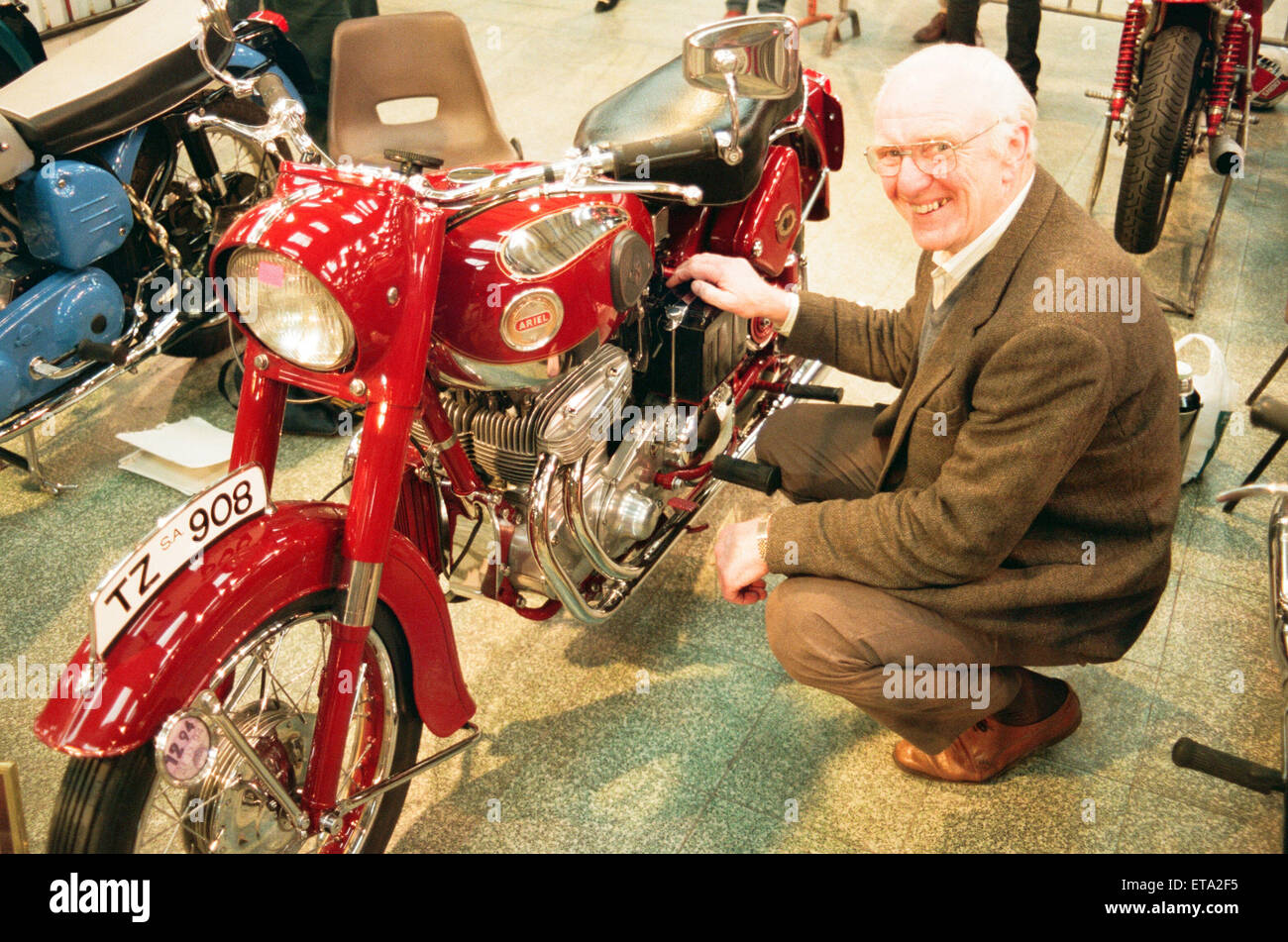 Big Bike Show - Eddie Saint with his 1958 Ariel Square 4 which was exported to Australia for use by the police. - Stock Image