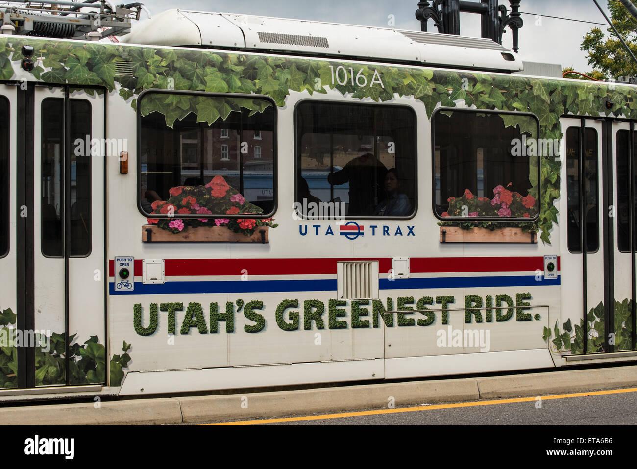 Environmentally Friendly Transportation - Utah Transit Authority (UTA) Advertisement - Salt Lake City ,Utah - Stock Image