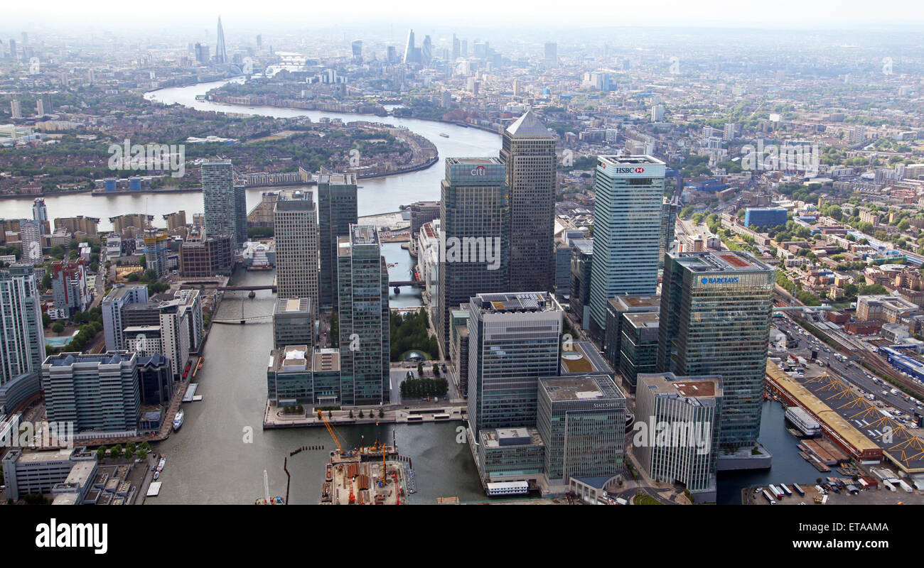 aerial view of Canary Wharf in East London, UK - Stock Image