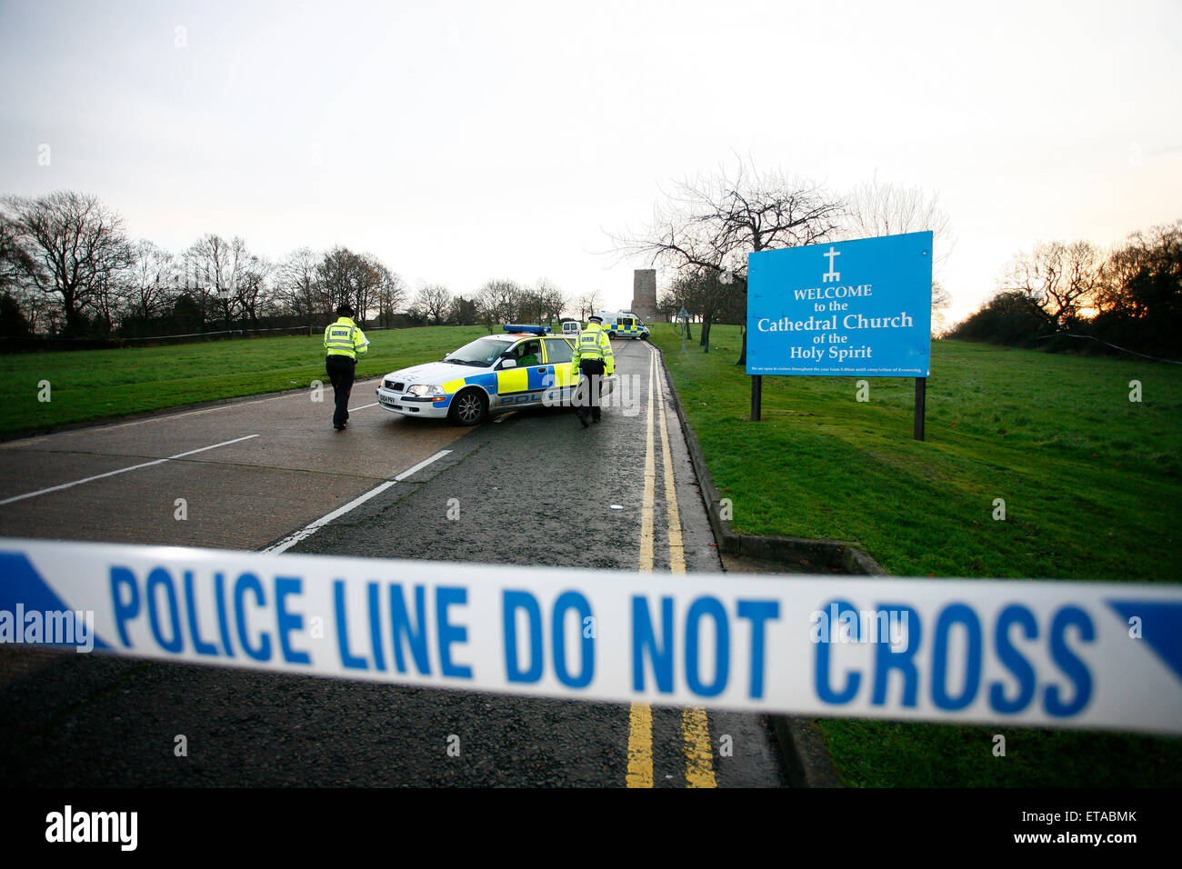 Police line do not cross - Crime scene at Guildford Cathedral - Stock Image
