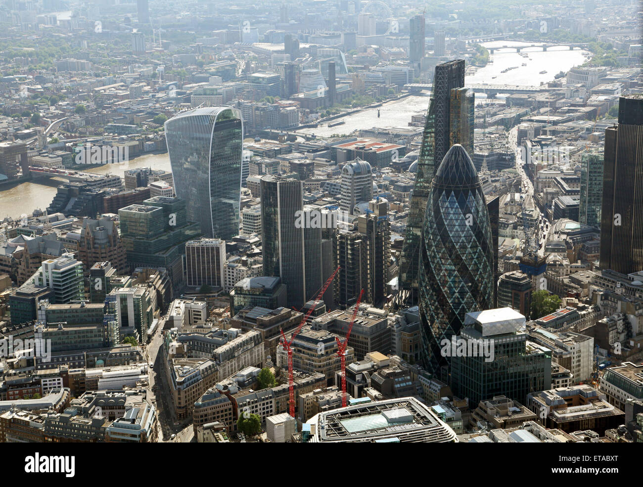 panoramic aerial view of London including The City, Gherkin, Walkie Talkie building & Cheesegrater, and The - Stock Image