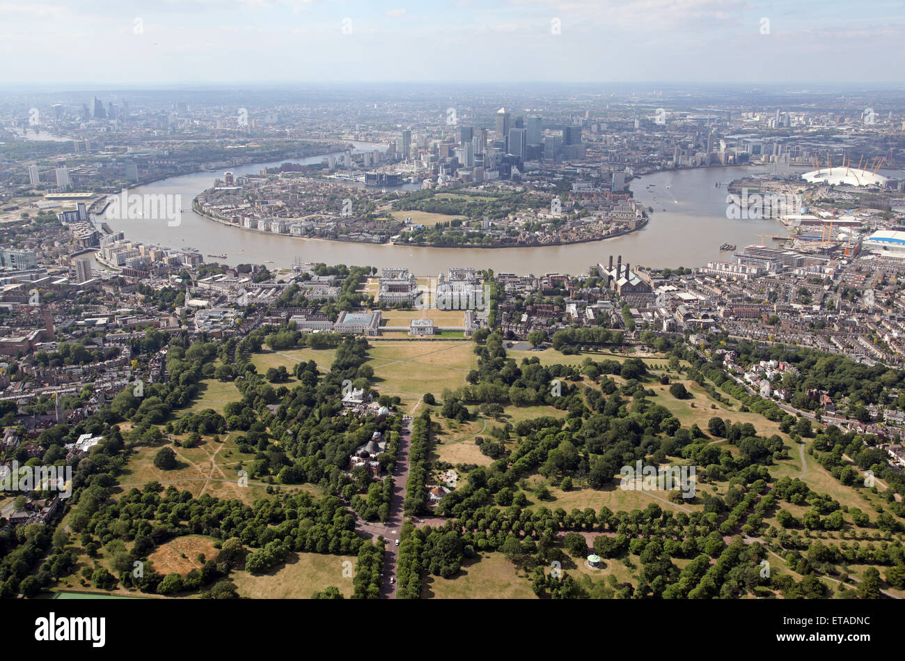 aerial view of Greenwich and the Isle of Dogs in East London, UK - Stock Image