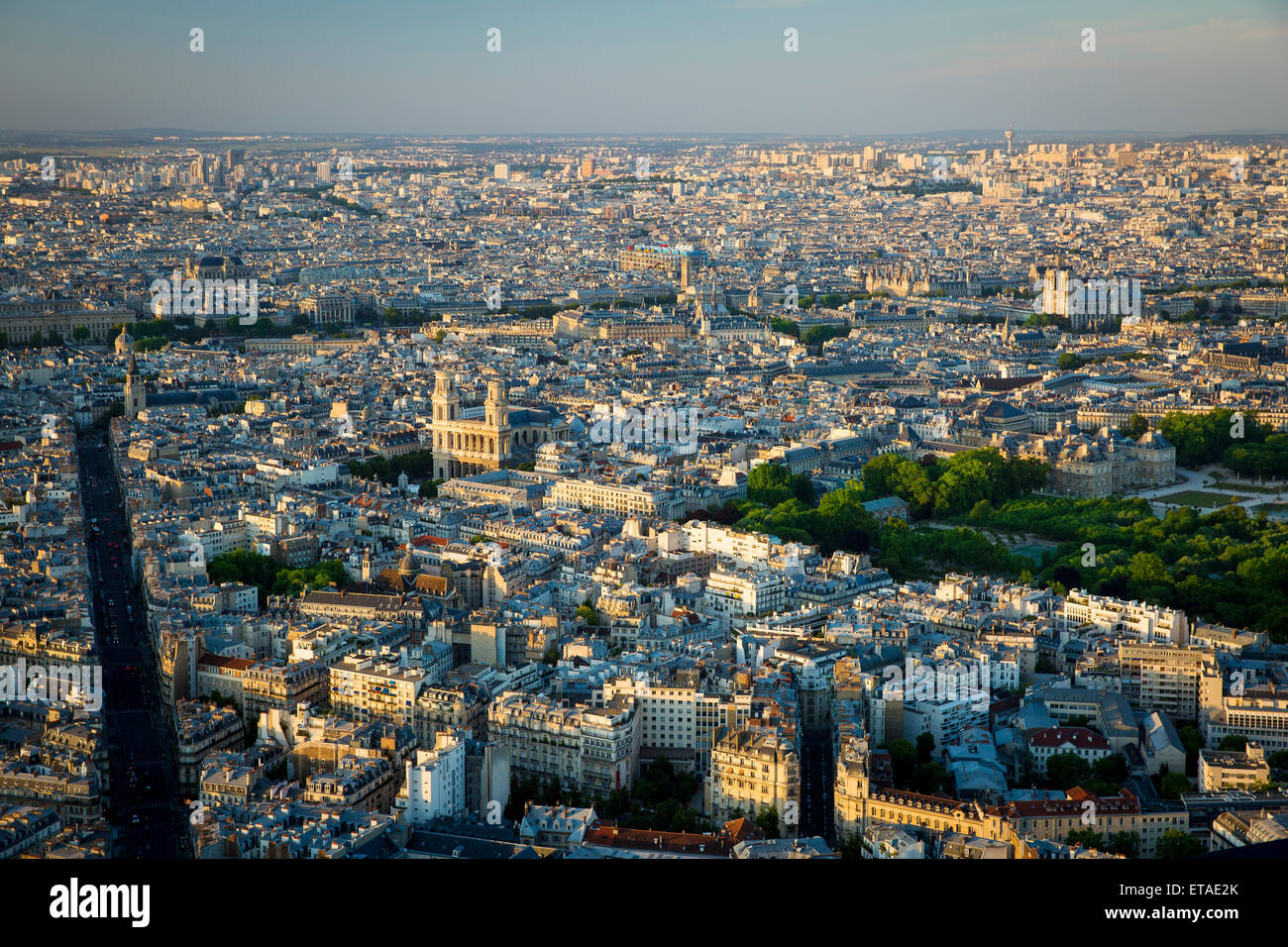 Overhead view of Eglise Saint Sulpice and the buldings of Paris, France - Stock Image