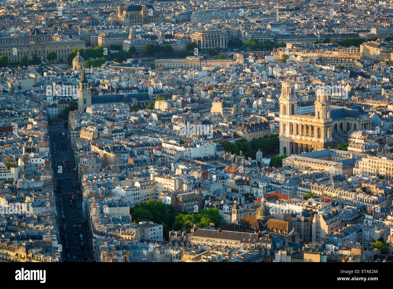 Overhead view of Eglise Saint Sulpice and the buldings of Paris, France Stock Photo
