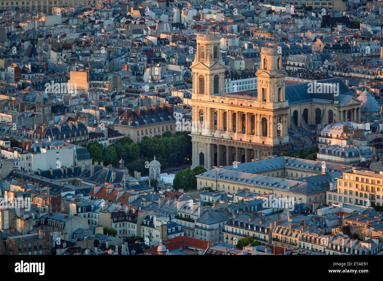 Overhead view of Eglise Saint Sulpice and the buildings of Paris, France Stock Photo