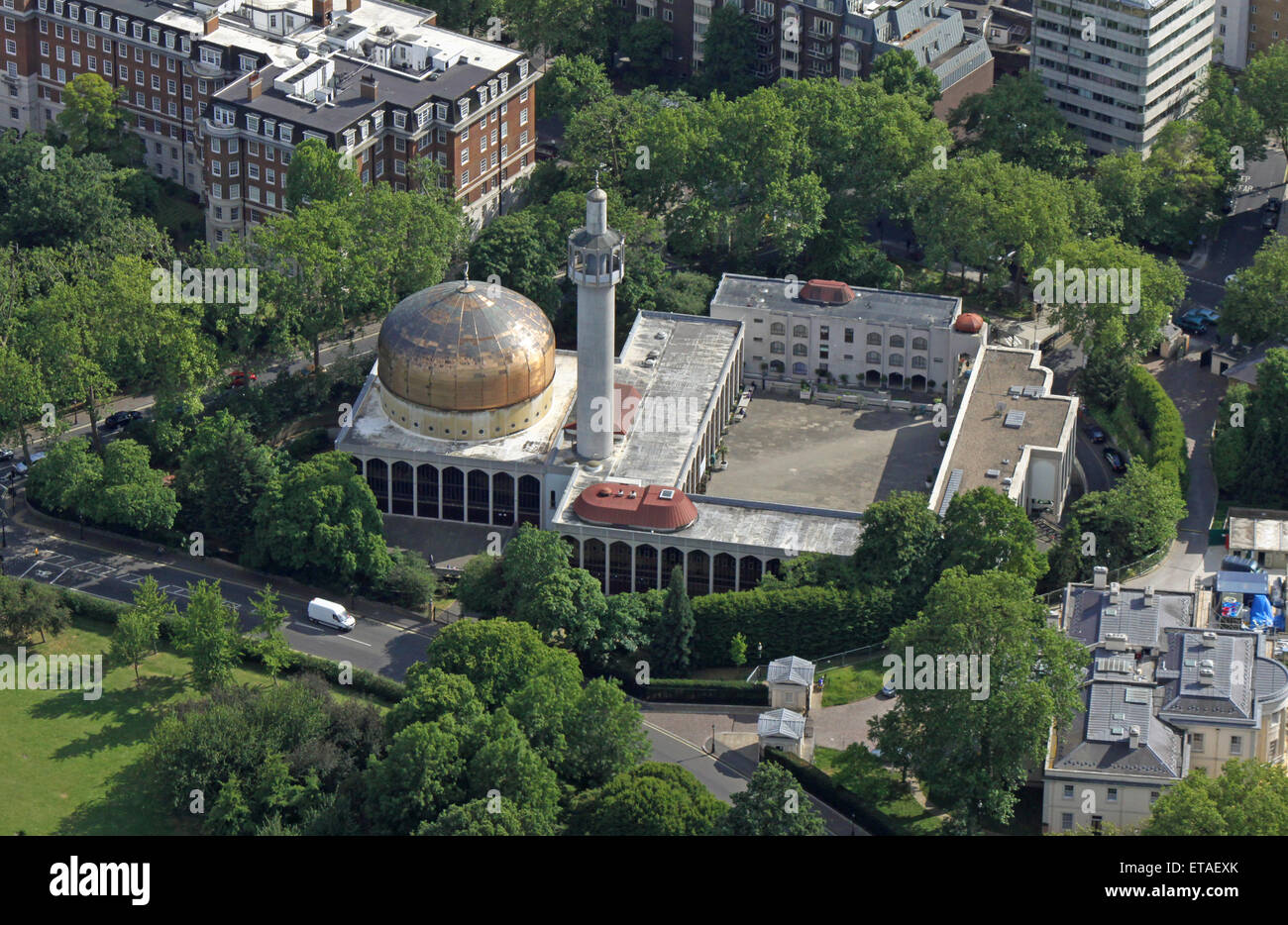 aerial view of The Islamic Cultural Centre and The London Central Mosque, near Regents Park, London, UK Stock Photo
