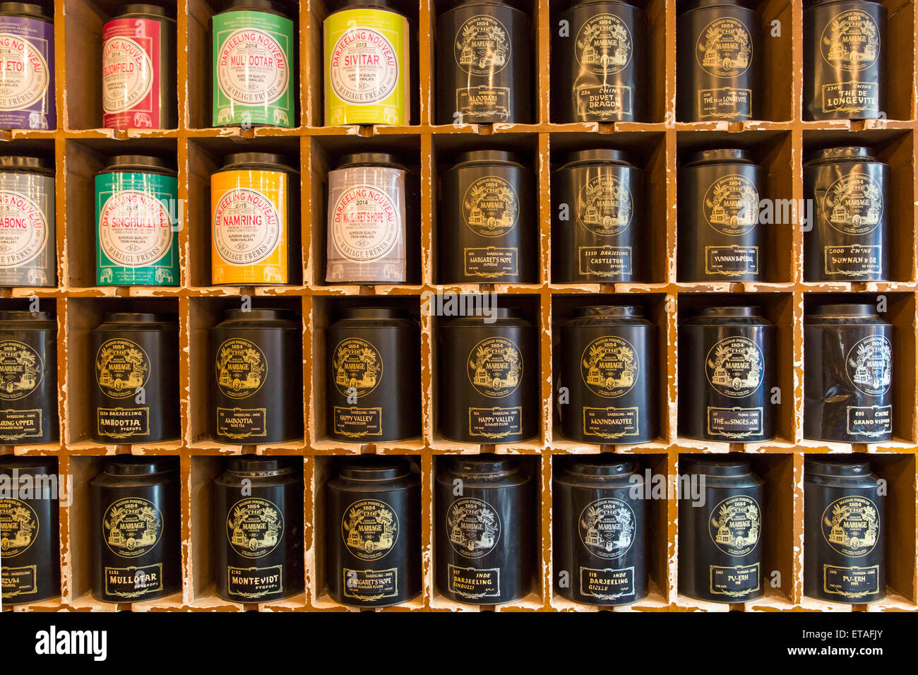Canisters of tea Wall display at world famous Mariage Freres Salon de The, Marais, Paris, France - Stock Image