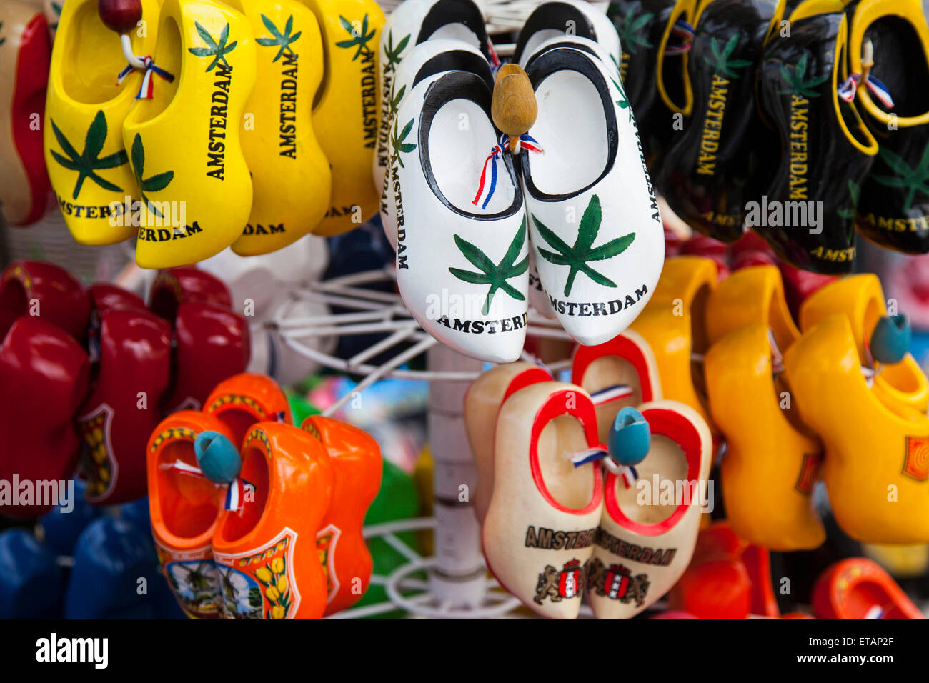 Wooden Shoes In Many Colors For Sale In Amsterdam Souvenir Shop