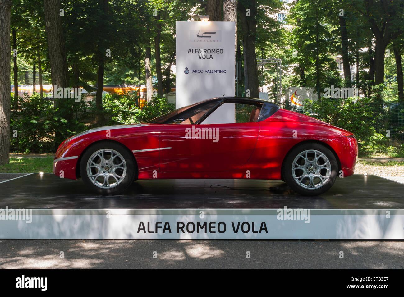 Turin, Italy, 11th June 2015. Prototype car Alfa Romeo Vola by Fioravanti. Parco Valentino car show hosted 93 cars - Stock Image