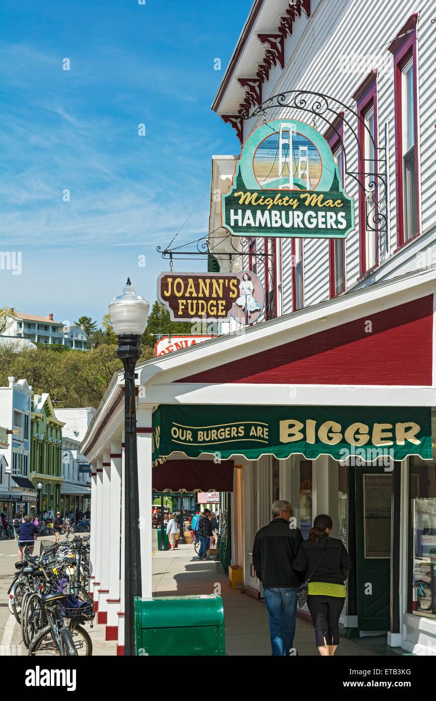 Michigan Mackinac Island Restaurants Shops Stock Photo 83837588