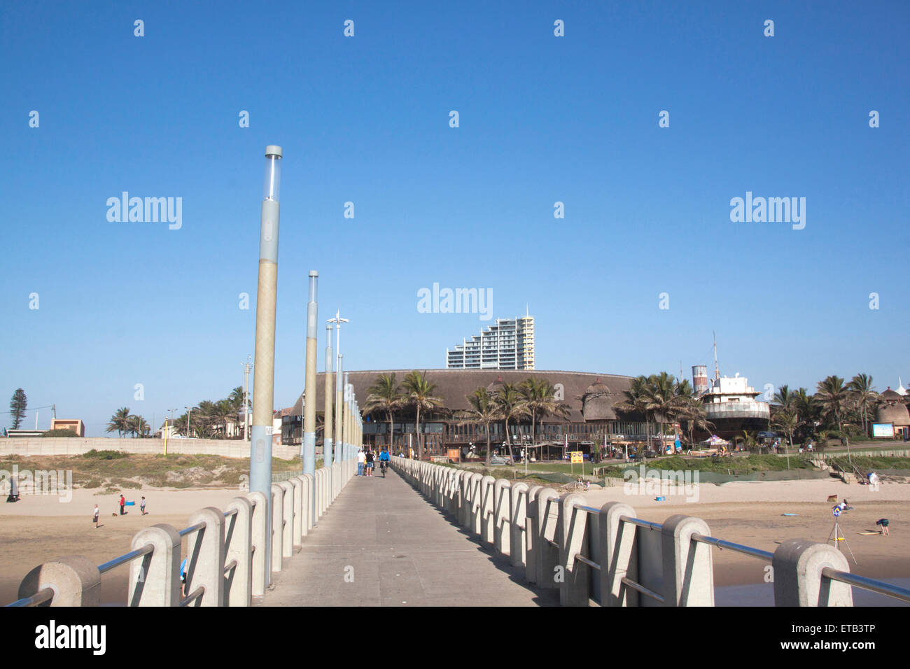 DURBAN, SOUTH AFRICA - JUNE 7, 2015: Ushaka Marine World viewed from Vetch's pier with many unknown people on - Stock Image